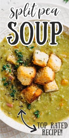 Split Pea Soup with Ham is a hearty and comforting soup that's perfect for making with leftover ham (and a ham bone) from a holiday dinner. Best Dinner Recipes, Spring Recipes, Split Pea Soup Recipe, Pea And Ham Soup, Easter Ham, Homemade Soup, Ham Bone, Soup Recipes, Yummy Recipes