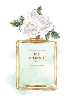 Chanel No5 print 8x10 White roses watercolor with gold effect Printed fashion…