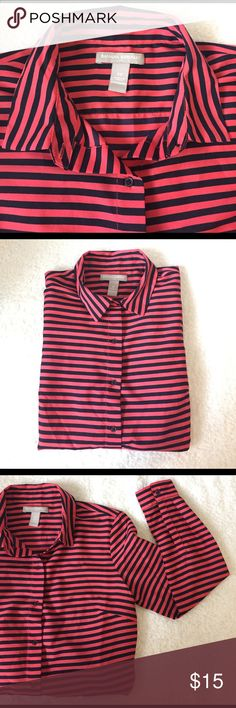 Banana Republic, Blouse. Striped. Banana Republic, striped long sleeves blouse. Thin material. SIze XS. Button up, button sleeves, Coral and Navy Blue stripes. Banana Republic Tops Blouses