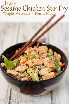Easy Sesame Chicken Stir-fry Recipe low carb option Weight Watchers 4 Points Plus dinner #McCormickSkilletSauce #ad
