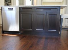 Kitchen island in dark chocolate wood