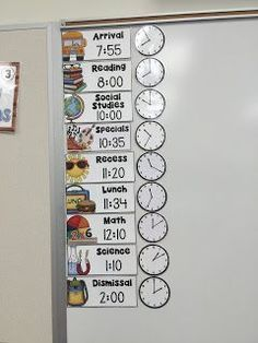Clocks showing our daily schedule help the students learn to tell time every day. timetable Daily Schedule Cards Editable with Clocks - Visual Schedule Chart First Grade Classroom, Special Education Classroom, New Classroom, Elementary Classroom Themes, Year 3 Classroom Ideas, Reading Corner Classroom, Kindergarten Classroom Management, Classroom Rules, Classroom Behavior