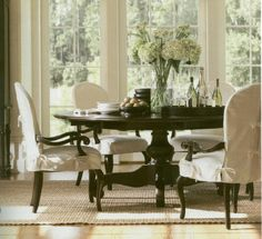 Love this look! Round pedestal table for my square dining room. Elegant, but not formal.