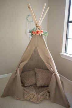 Kids Teepee - Burlap - Rustic - Shabby Chic - Bohemian - Boho Baby Shower Decor - Canvas Coral Neutral - Children's Photography Prop