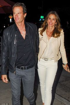 Adorable: Cindy Crawford and Rande Gerber proved their relationship has stood the test of time, looking every inch in love as they caught a late night bite to eat at Craig's in West Hollywood on Saturday night