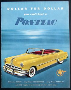 Vintage ad print - 1950 Yellow Pontiac Silver Streak Convertible Car - Beautiful Blue Background - Ready to Frame