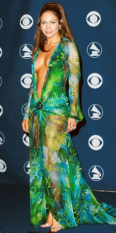 JENNIFER LOPEZ, 2000    It was the dress that dropped a thousand jaws – and then some. Lopez famously left nothing to the imagination in a sheer down-to-there Versace dress that people still talk about.