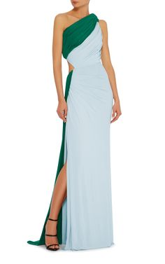 One Shoulder Cutout Jersey Gown by ELIZABETH KENNEDY Now Available on Moda Operandi