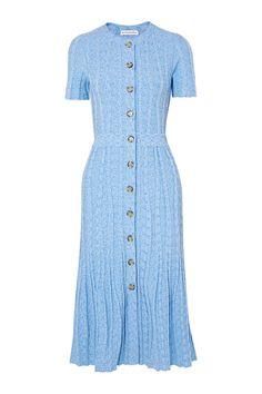 Altuzarra Abelia Speckled Knitted Midi Dress In Blue Midi Flare Skirt, Blue Midi Dress, Dress Skirt, Modest Dresses, Pretty Dresses, Casual Dresses, Work Dresses, Modest Clothing, Winter Dresses For Work