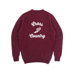 Made in Scotland. Chain-stitched in the USA. 100% Shetland wool with chain-stitched graphic on back.  This crewneck offers the lightweight warmth and fully-fashioned knit of a traditional Scottish sweater, but it's injected with the athletic verve of a chain-stitched Cross Country logo on the back. Look closely at each of the different colors and you'll find a subtle, complementary undertone in the rich wool yarn. Sophisticated materials and fabrication plus savvy retro aesthetics equ...