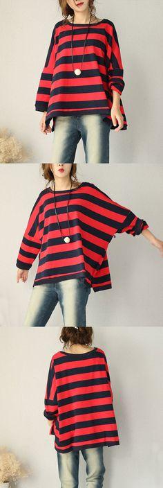 Loose Bat Sleeve Striped Cotton Shirt
