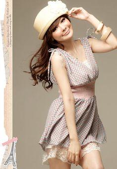 Fine Tie Shoulders V-neck Heart Prints Lace Banded Waist Short Dress - BuyTrends.com