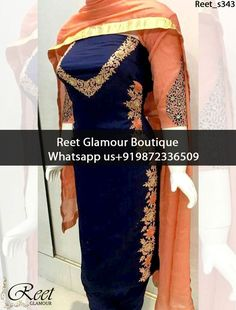 Impressive Navy Blue And Orange Punjabi Suit Product Code : Reet_s343 To Order, Call/Whats app On +919872336509 We Offer Huge Variety Of Punjabi Suits, Anarkali Suits, Lehenga Choli, Bridal Suits,Sari, Gowns Etc .We Can Also Design Any Suit Of Your Own Design And Any Color Combination.