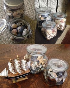 Beach memory jars filled with sand, sea shells, starfish, broken glass, pebbles, and ocean memories