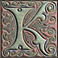 Presentation Alphabets: Drop Caps Letter K - Style 125