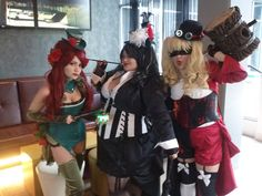 Batman Villian Cosplay, Victorian Style. Posion Ivy, Penguin and Harley Quinn