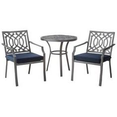 <p>Invite style to your deck or patio with a Threshold Harper 3-Piece Patio Bistro Set. Perfect for smaller spaces, this patio set gives you a patio table and chairs with a timeless silhouette and elegant pattern. It's made of durable steel and aluminum and has comfy cushions that resist fading, stains and water. The cast aluminum patio furniture is ideal for intimate dining in the outdoors.</p><p> </p&am...