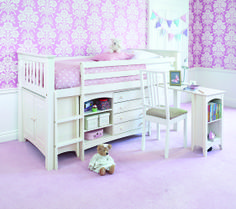 A cabin bed is ideal for children. It'll teach them to put away toys and books as well as give them space to do homework.