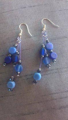 Boucles d'oreille bleu - boucle d oreille percée - CreaClaire - Fait Maison