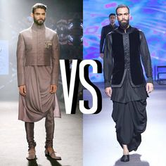 """Shantanu and Nikhil's drape kurta or Tarun Tahiliani's drape dhoti? What's your pick men? #WeddingInspo #Fashion #myfashtags"""