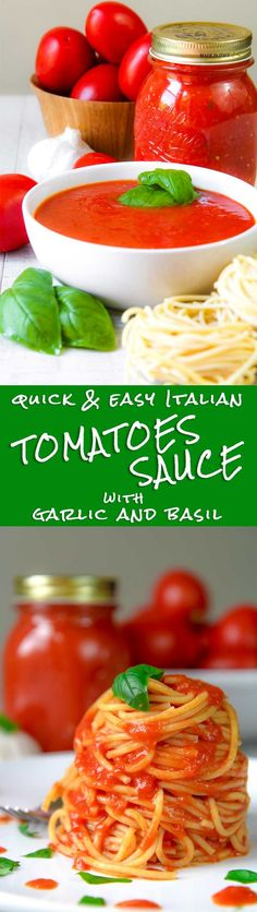 EASY TOMATOES SAUCE ITALIAN WAY with garlic and fresh basil - This Easy tomatoes sauce is so tasty and fast to prepare! Tomatoes are cooked along with garlic and sweet basil, just the time to soft them. The more tomatoes are ripe, the more sauce will be delicious! To prepare this recipe a vegetable mill is not mandatory, but I strongly suggest to use  it. A blender works fine as well, but the sauce texture will be not the same! - dinner pasta healthy vegan recipe