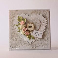card heart roses rose flower leaf leaves vintage shabby chic romatic communion - kort hjerte konfirmation