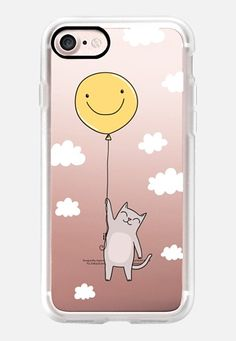 Casetify iPhone 7 Classic Grip Case - Cute cat flying on air balloon with smile- Happy animal by Anna Alekseeva kostolom3000 #Casetify