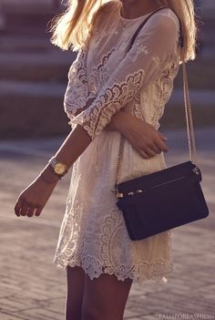 White Lace Dress - casual