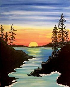 Easy Nature Paintings, Easy Landscape Paintings, Scenery Paintings, Simple Canvas Paintings, Acrylic Painting Canvas, Landscape Art, Sunset Paintings, Landscapes To Paint, Easy Acrylic Paintings