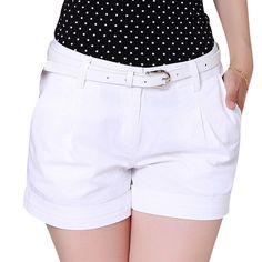 Encontre mais Shorts Informações sobre 2015 coréia do verão mulher Shorts de algodão tamanho S 2XL New Design de moda Lady Casual calças curtas cor sólida preto / caqui / branco, de alta qualidade Shorts de E2000 em Aliexpress.com