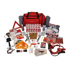 This is a survival kit, auto kit, and blizzard kit all in one. This Kit Is packed securely in a Red Duffel Bag with Wheels and includes food to feed a family of four for a day or an individual for three days. Emergency Preparedness Kit, Emergency Survival Kit, Survival Food, Outdoor Survival, Survival Prepping, Survival Skills, Family Emergency, Survival Quotes, Survival Hacks