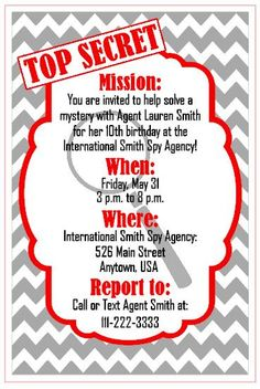 Personalized Custom Made to Order Spy Themed Birthday Party Invitation- Digital Electronic File DOWNLOAD