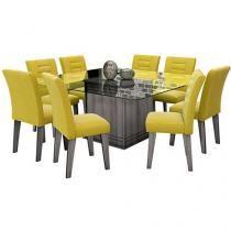 Conjunto de Mesa com 8 Cadeiras Vegas - Movale