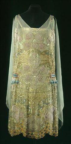 Agnes (Designer), Gold Embroidered Evening Dress, Late 1920s.