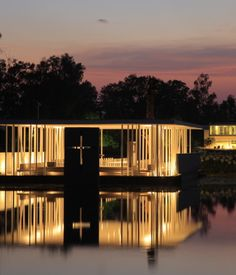 Di Vece Arquitectos, Capilla del Lago (2010) This waterfront, open-air structure in Michoacán, Mexico, boasts supports that function like a cluster of votives at night.
