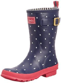Joules Women's Molly Welly Rain Boot, Navy Spot/White, 9 M US