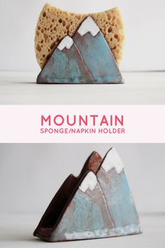 This DIY ceramic mountain holder can hold napkins, sponges, etc! It's the perfect gift for the adventurer or a new home owner!!! Too cute!!!!! #mountains #diy #homedecor #kitchen #ceramic #pottery #diningroomdecor #kitchendecor #decor #adventure #newhome #firsthome