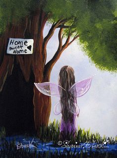 Home Sweet Home II Girl's room decor art print wall art fairy by shawnaerback on Etsy