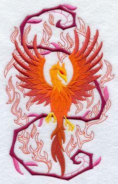 Phoenix in Fantasy Flames [embroidery]