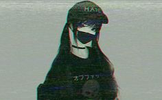 #glitch #anime #facemask #girl #hate