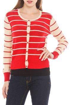 Mystree Mix Stripe Cardigan in Red and Taupe - Beyond the Rack