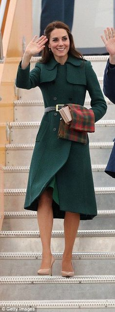In a stylish green coat at Whitehorse during the Royal Tour of Canada in Whitehorse, Canada