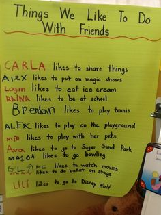 The Pre-Kindergarten students discussed things they like to do with their friends.