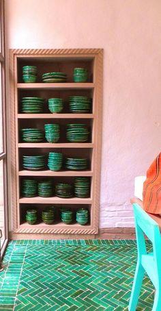 Herringbone tile floors in great green tones