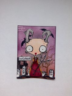 Sassy Monster Crafts: Wicked Witch ATC using a digital stamp from The Octopode Factory