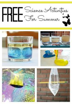 Are your kids interested in science, but you think that science projects for kids are too expensive or messy? Check out this collection of FREE science activities for kids - you are very likely to have all the materials already on hand. Summer Science, Preschool Science, Elementary Science, Science Fair, Science For Kids, Science Projects For Kids, Science Activities For Kids, Science Experiments Kids, Stem Activities