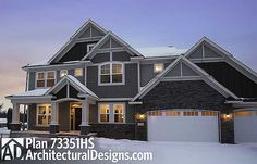 Storybook Craftsman House Plan 73351HS. 4 beds up and a 5th in the lower level. @adhouseplans #readywhenyouare