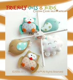 Friendly Owls and Birds Baby Mobile with Free Musical Button (Custom Colors) Hanging Baby Crib Mobile for Modern Nursery or Playroom Decor
