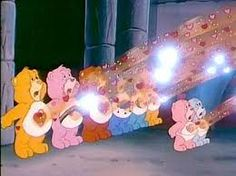 """Spiritual Things simply explained by the Care Bears: Feeling and expressing is battle with the """"Care Bear Stare,"""" launching the spirits of friendship, cheer, trustworthiness, bravery, luck, dreams, wishes, caring, playfulness, swiftness, strength, purity, and other virtues."""