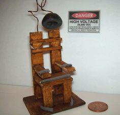 ELECTRIC CHAIR Dollhouse Miniature Spooky Gothic Halloween Horror Haunted House. $25.00, via Etsy.